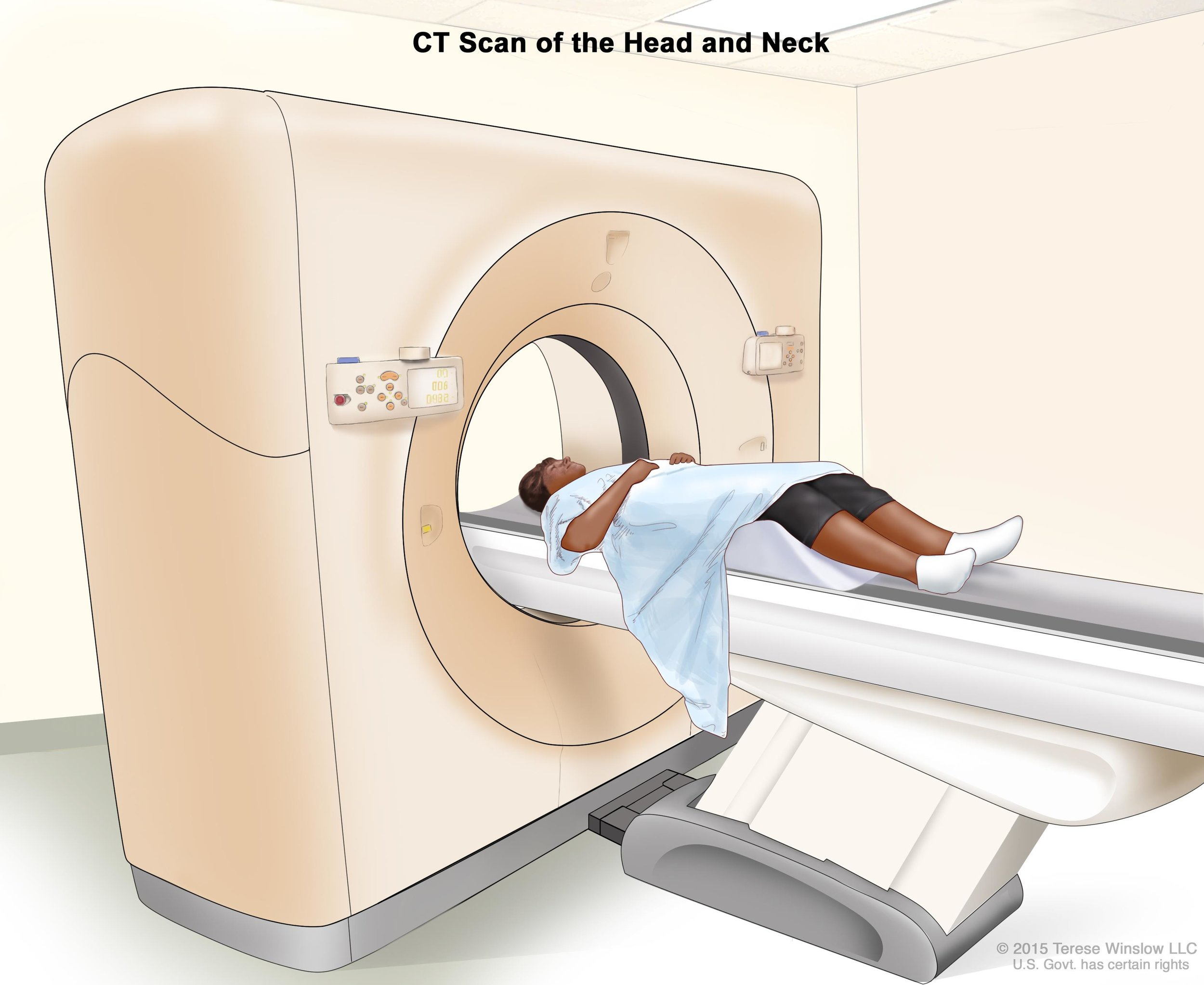 Patient getting CT scan of head and neck . ( Source )