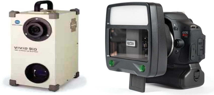 The traditional laser scanner (left) vs. a stereophotogrammetric camera (right).  (  Source  )
