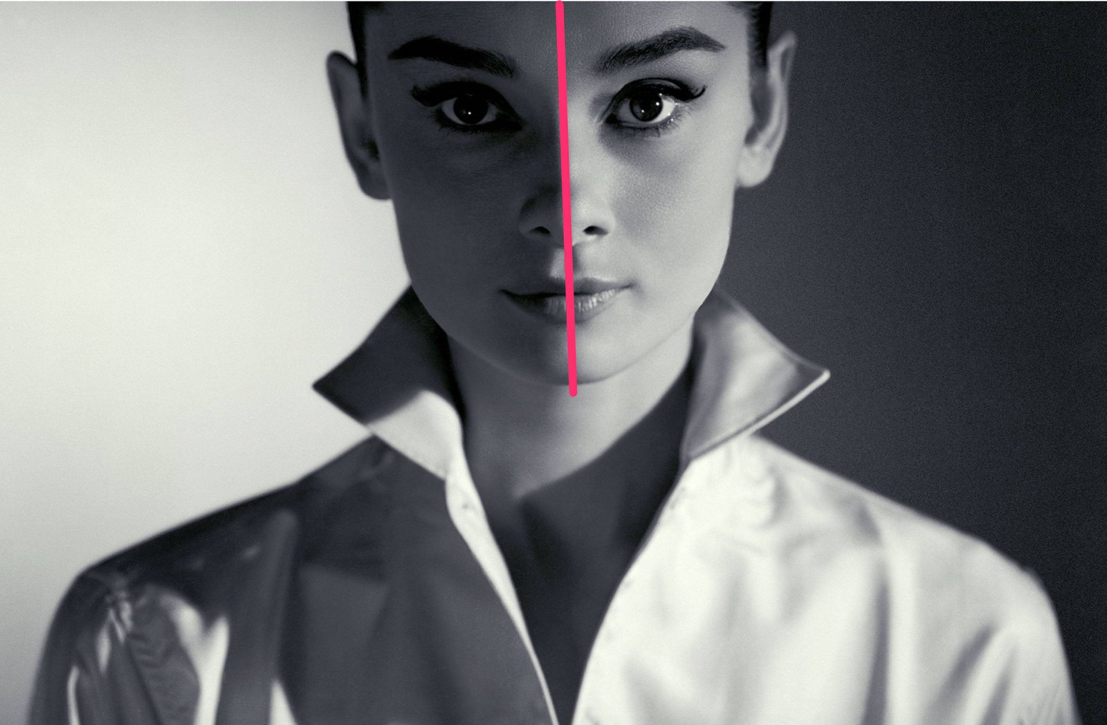 Audrey Hepburn's face is very symmetrical along the vertical axis.  ( Source )