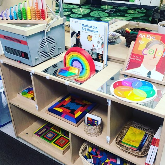 This new area in the atelier encourages children to explore the intersection of math and art ➕➗ 🎨 🌈 #atelier #reggioinspired #mathart #inquirybasedlearning #shelfie #classroomsetup