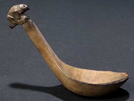 Ladle - Mainly used for scooping water and soups, this simple ladle design shows how birch bark and wood can be handily crafted into everyday kitchen utensils.