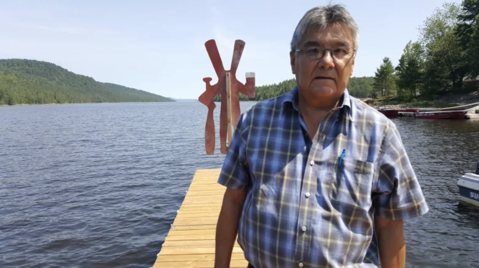 Harry St. Denis, the long-serving chief of Wolf Lake First Nation, said the land being used for the Zibi development is sacred, and that Wolf Lake First Nation were not adequately consulted before the project got underway. (photo by Kristin Nelson/CBC)