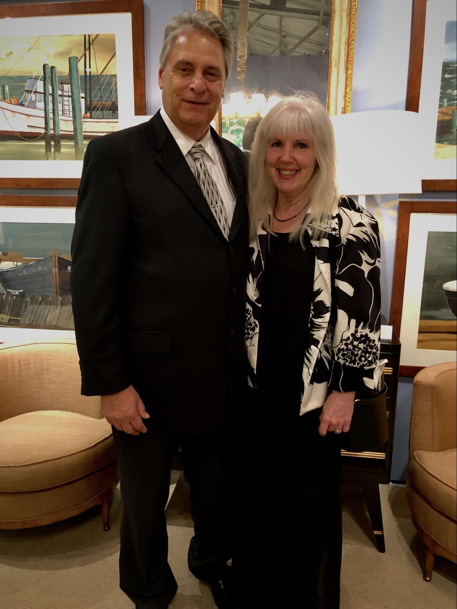 Ed and Missy Westbrook at the Gala. San Francisco's  Epoca  booth provides an elegant backdrop.