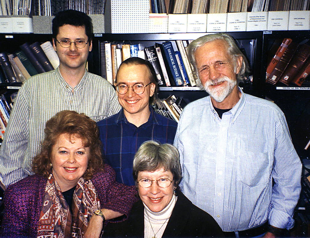 BMC faculty circa 1996; Linda Wilson-Pauwels, Nick Woolridge, Dave Mazierski, Margot Mackay, and Steve Gilbert
