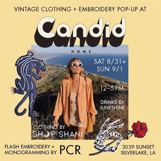 This Labor Day weekend! Pop Up Party here with some good friends. Come by both days for beautiful vintage from @shop_shani, live embroidery by @pcr21 and of course some free drinks. Flyer by @carlarabbit 🌻🌻🌻