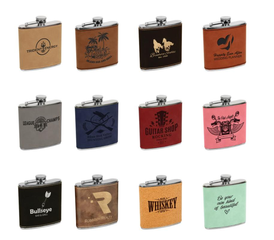Leatherette flasks.jpg