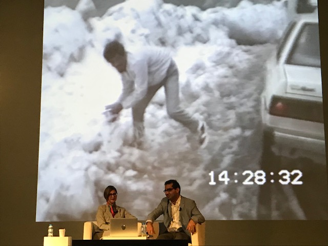 Marysia Lewandawska in conversation with Hammad Nasar with video still from Cinema Island