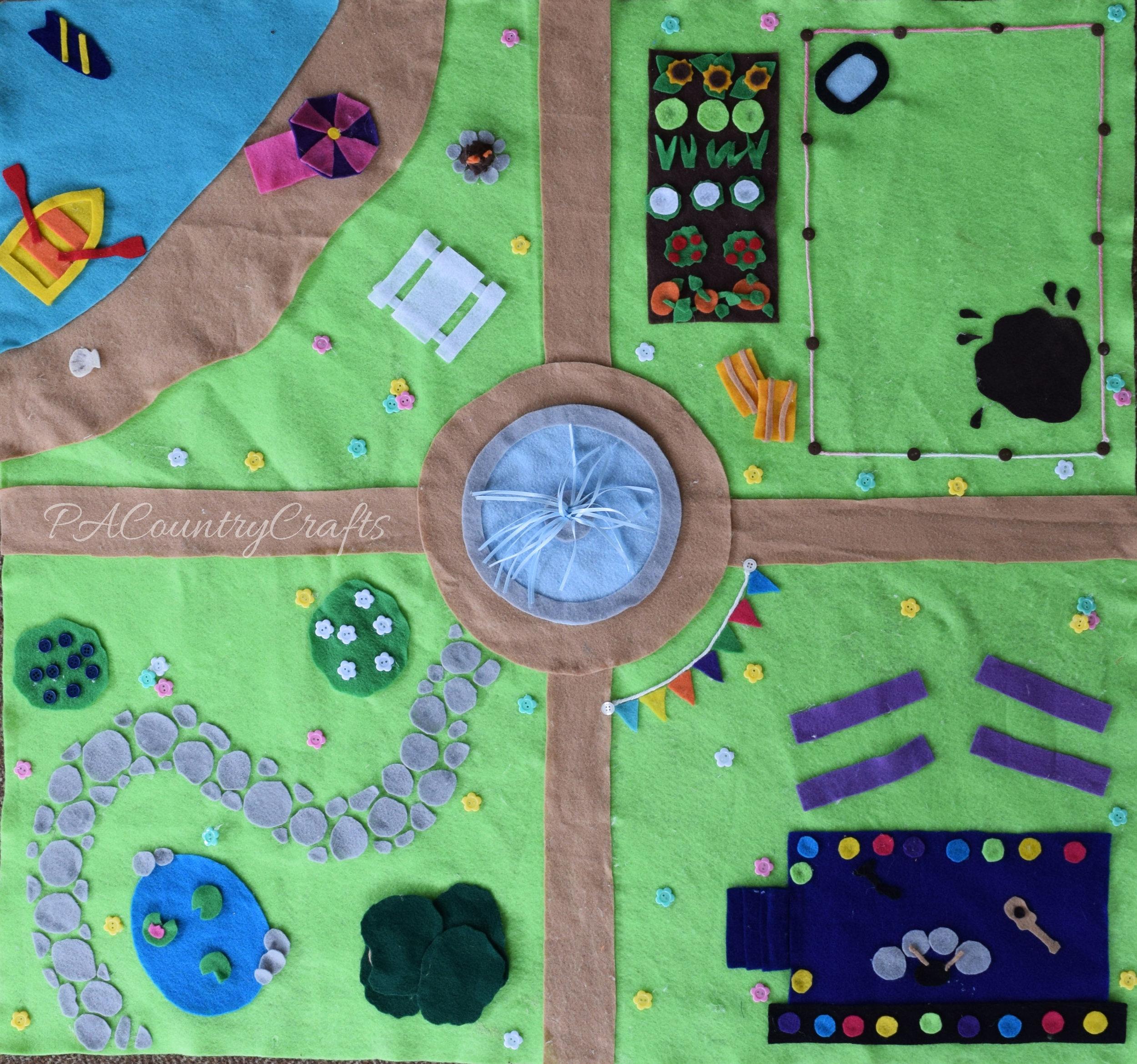 Kids craft no-sew felt play mat