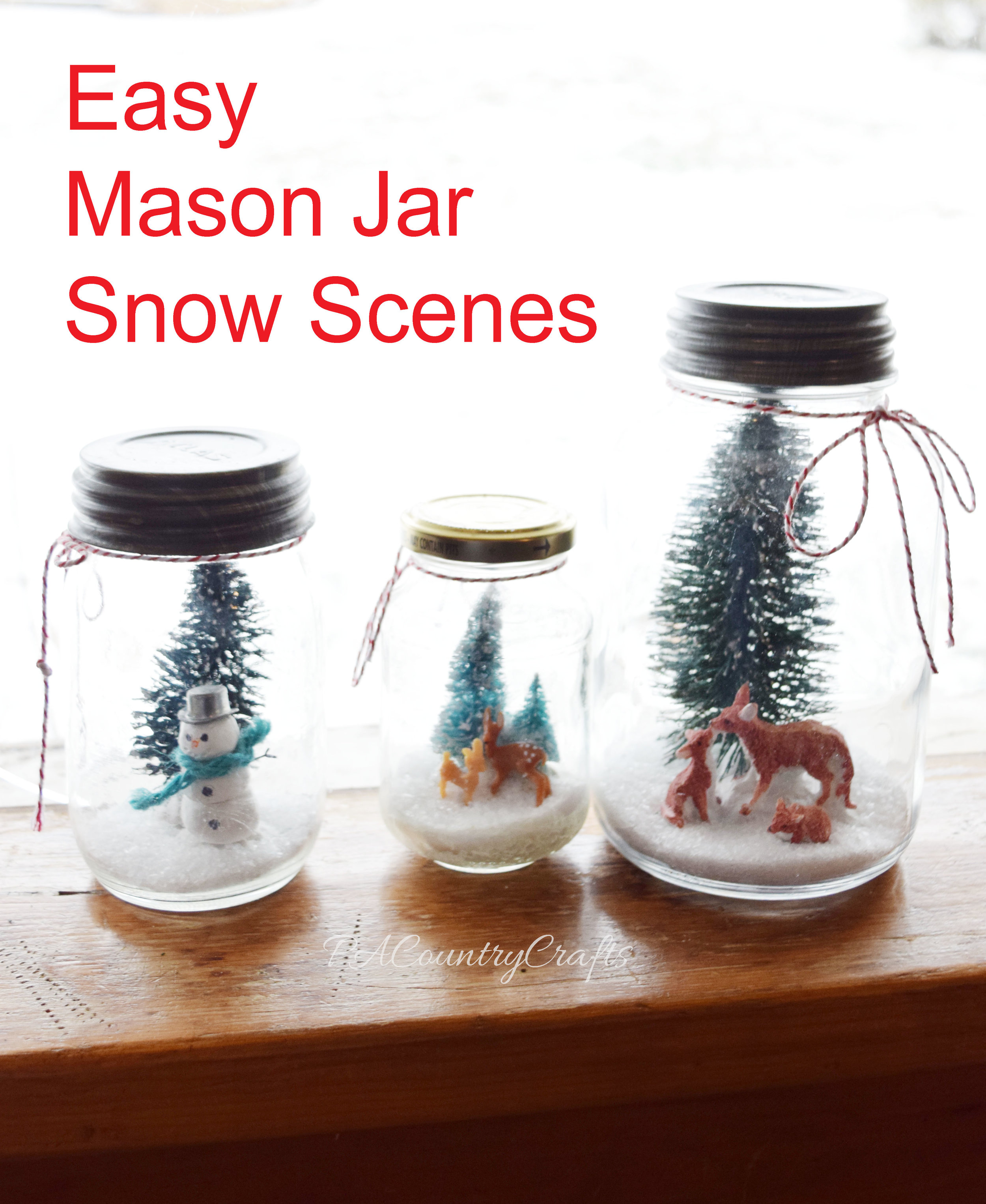 Easy Mason Jar Snow Scenes