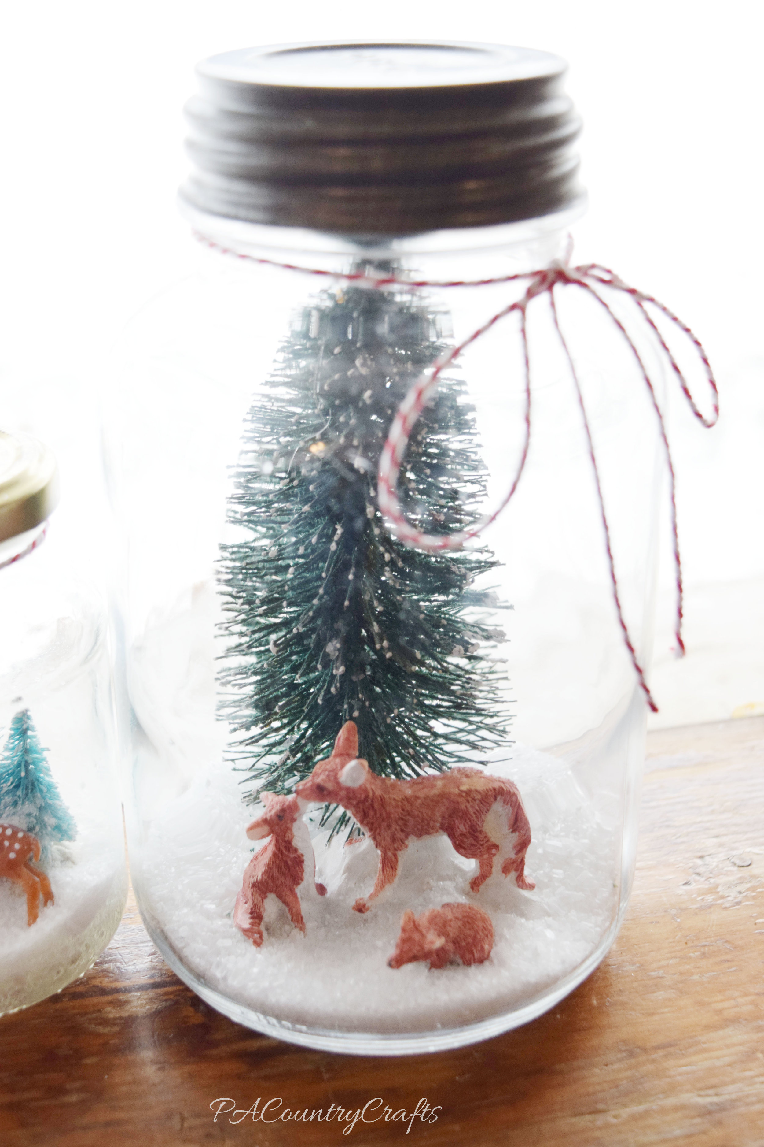 Easy winter scene in a mason jar.