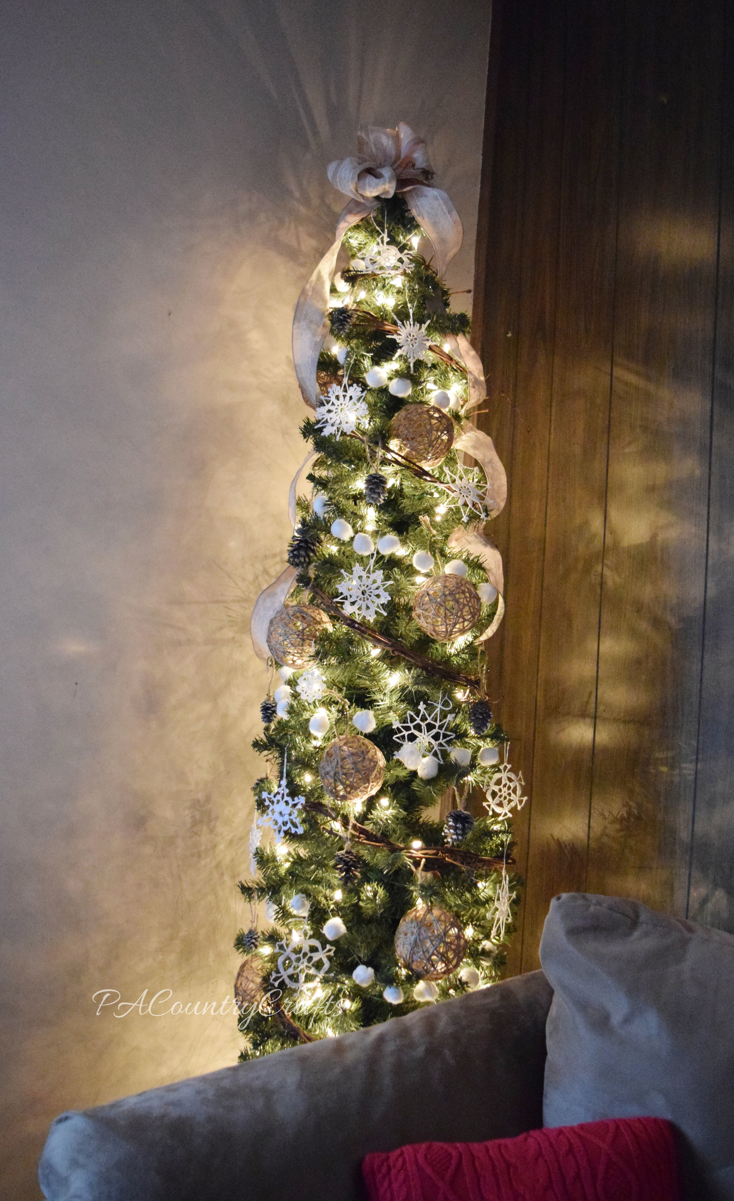 All of the decorations on this rustic, winter tree are homemade!