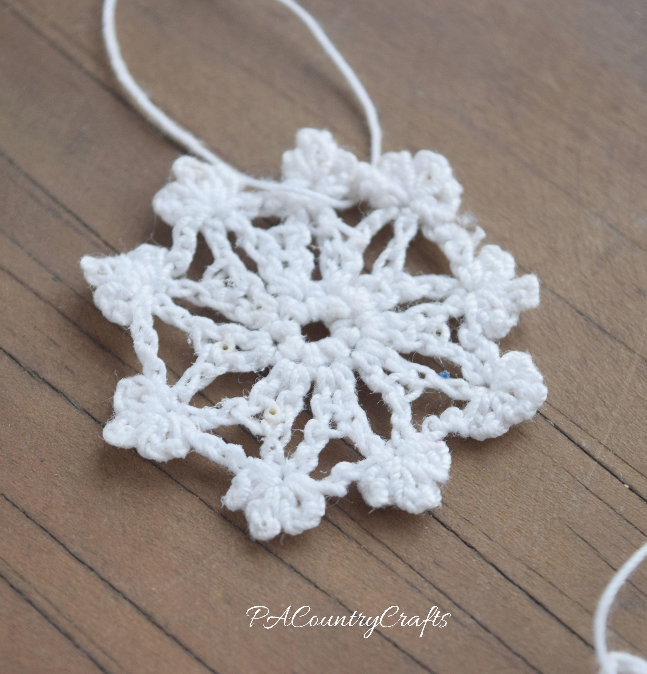 tiny crochet snowflake