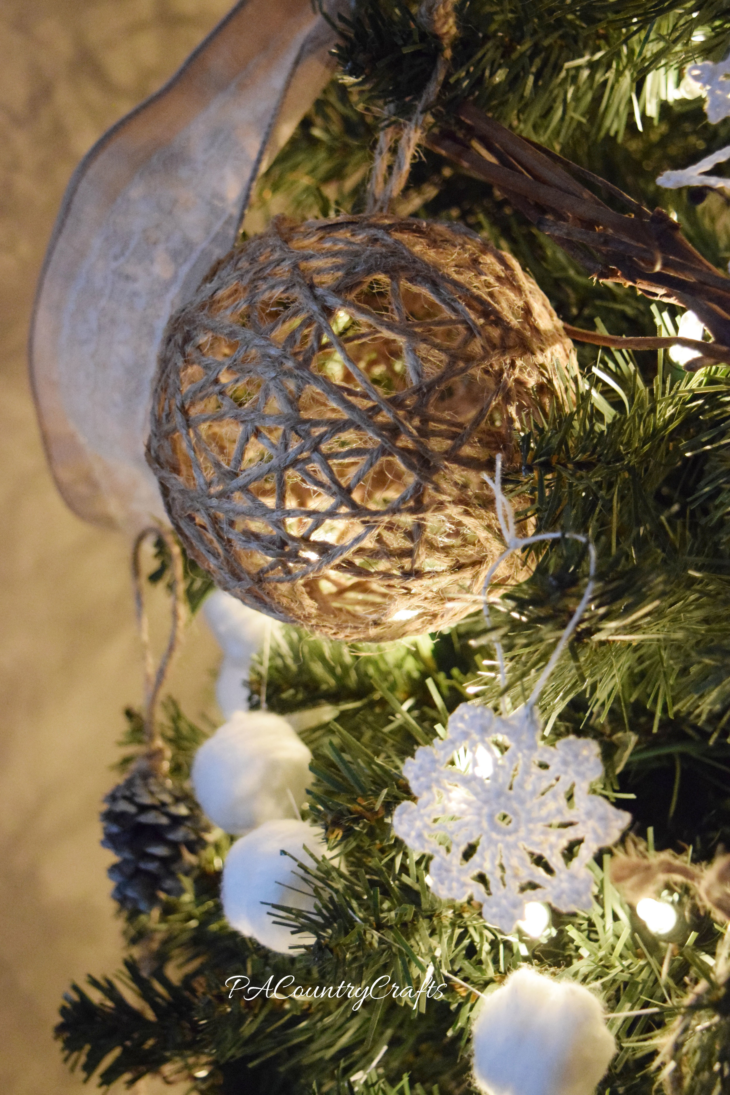 Easy to make twine ball ornaments...