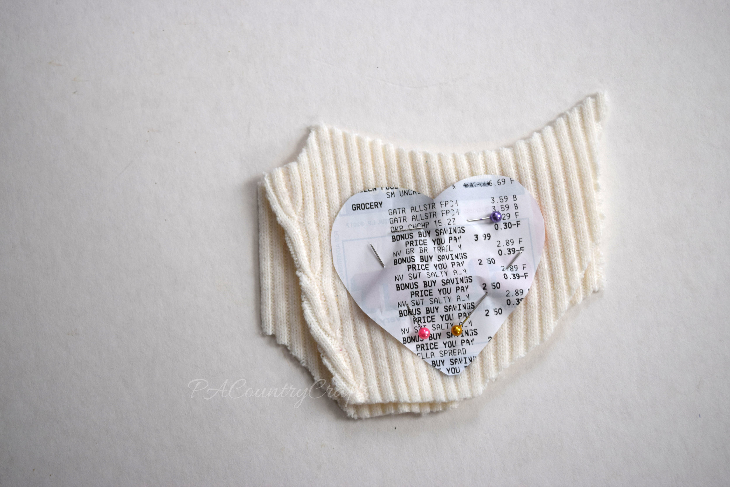 Use an old receipt to make a sewing template