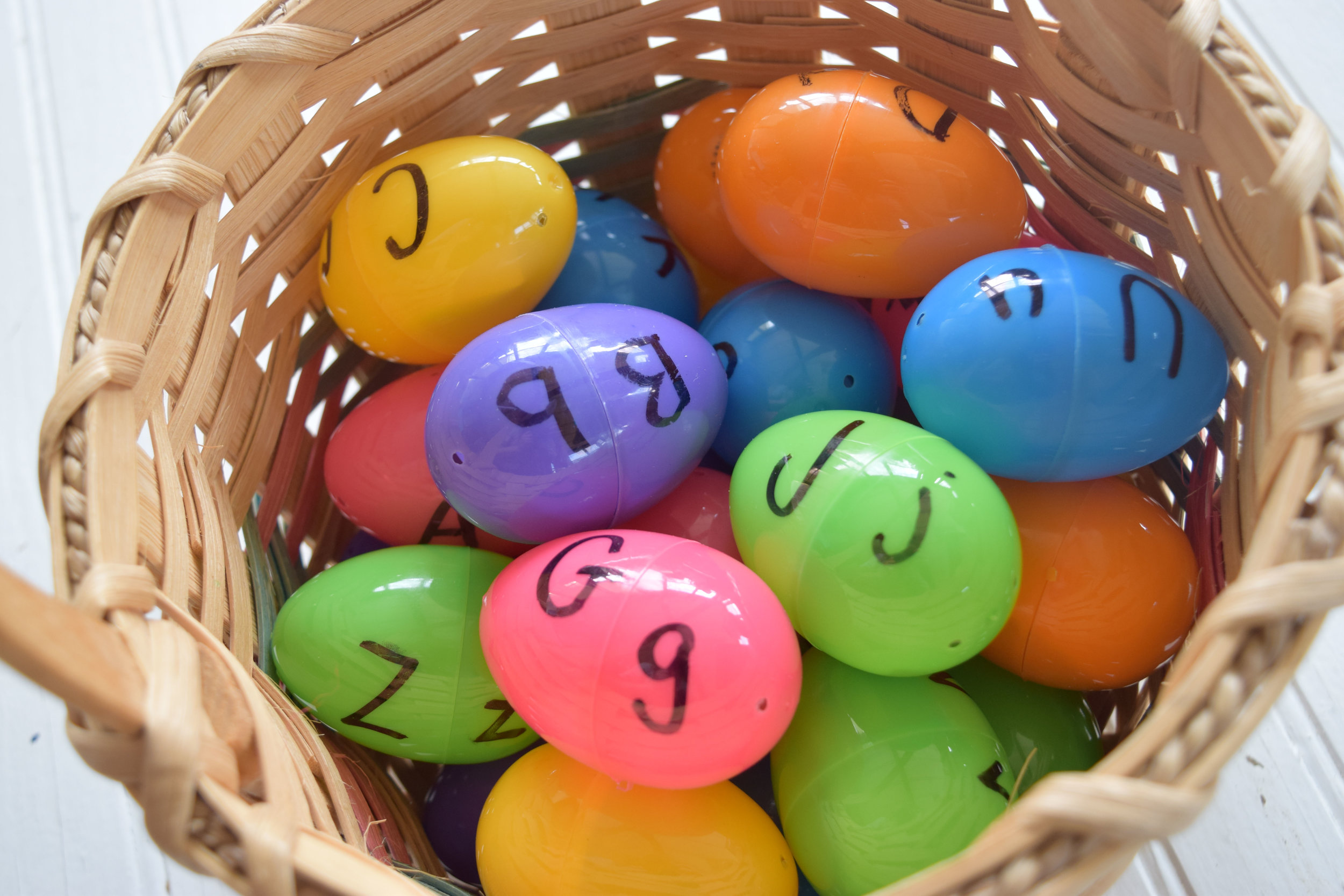 Plastic egg letter matching activity with free printable!