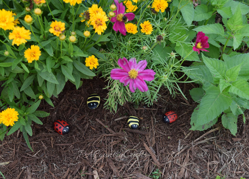 Let kids paint cute, little bug rocks to decorate the flower garden!