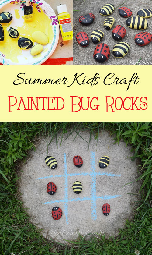 Summer Kids Craft- paint rocks to make ladybugs and bumblebees, then use them to play tic tac toe!