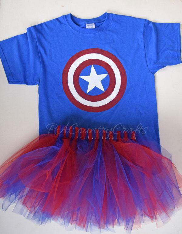 Captain America T Shirt and Tutu Halloween Costume DIY