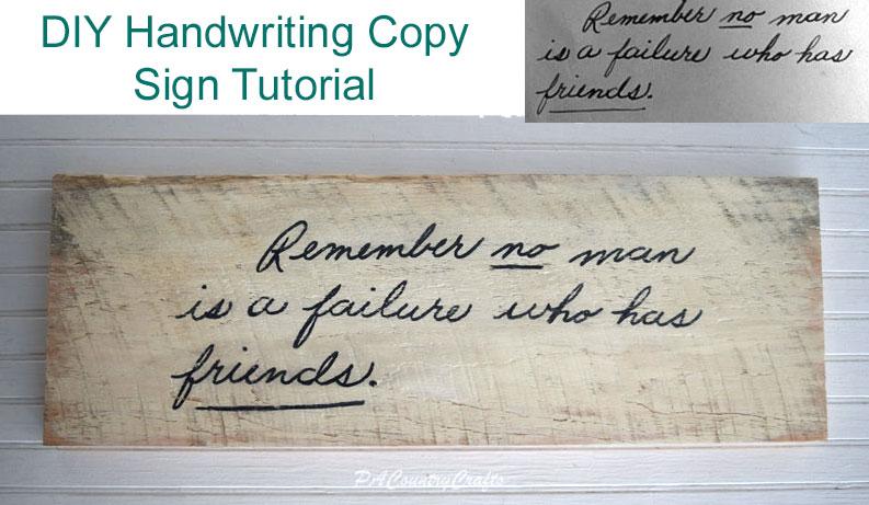 DIY Handwriting Copy Sign Tutorial