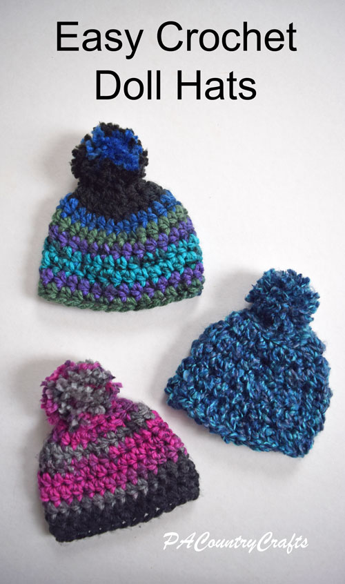Crochet these easy doll hats with chunky yarn- free pattern!
