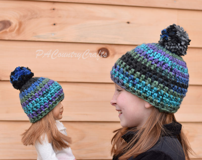 Matching girl and doll crochet beanies with free patterns!