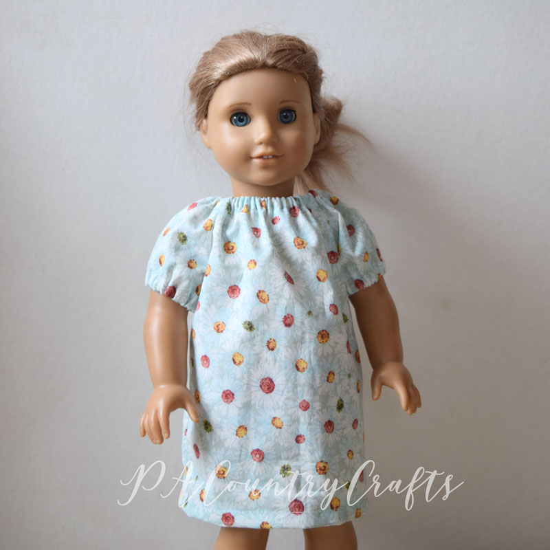 Tutorial and free printable pattern for a doll peasant dress- good beginner sewing project!