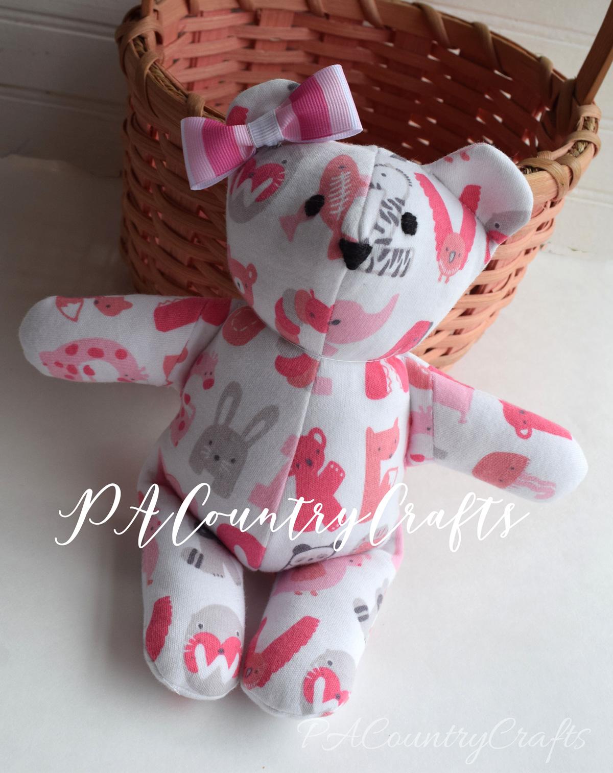 Use old baby sleeper to make a memory bear