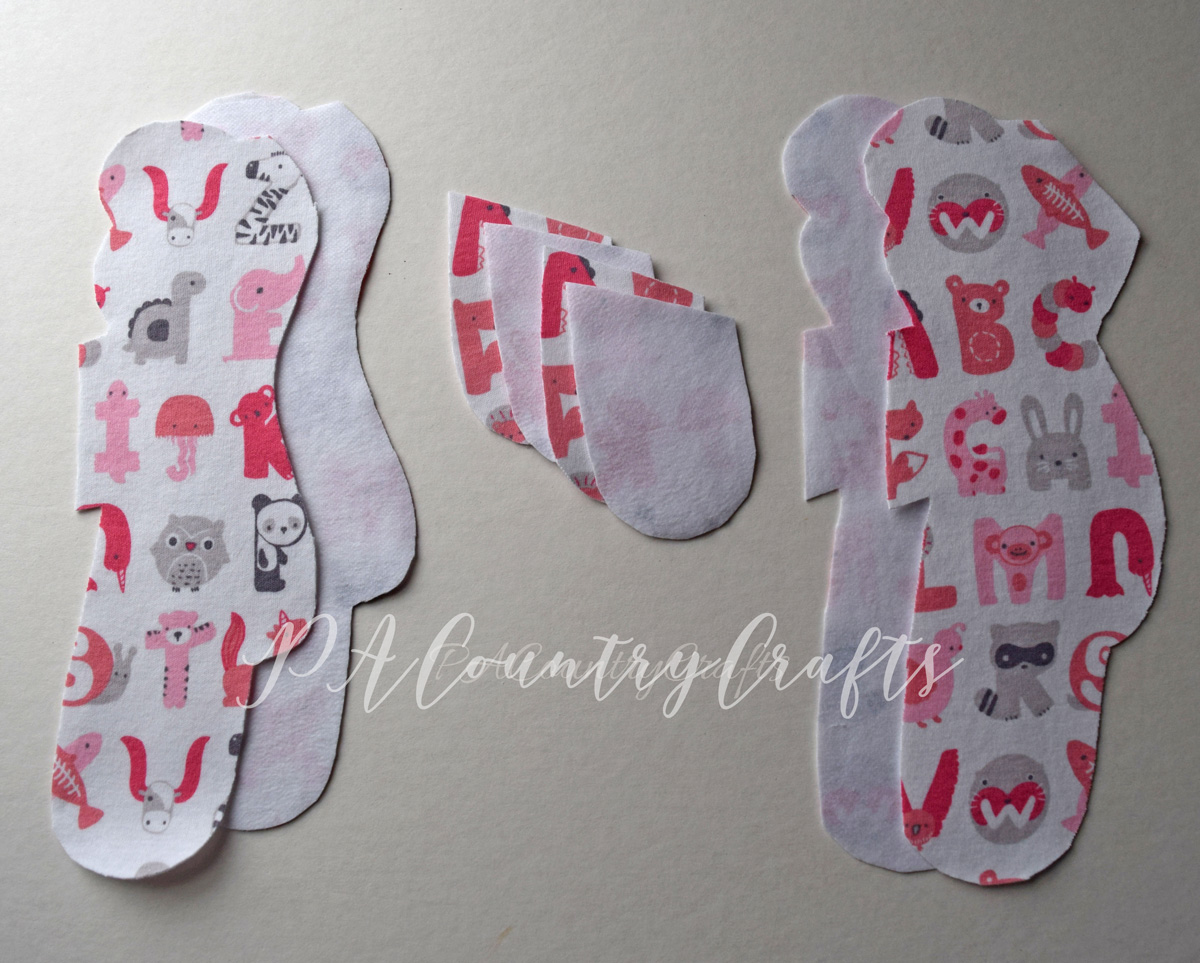 Memory bear pieces cut from a baby sleeper