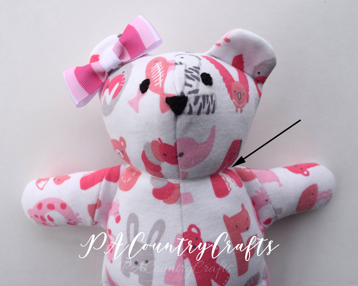 shaping a stuffed bear with less pieces