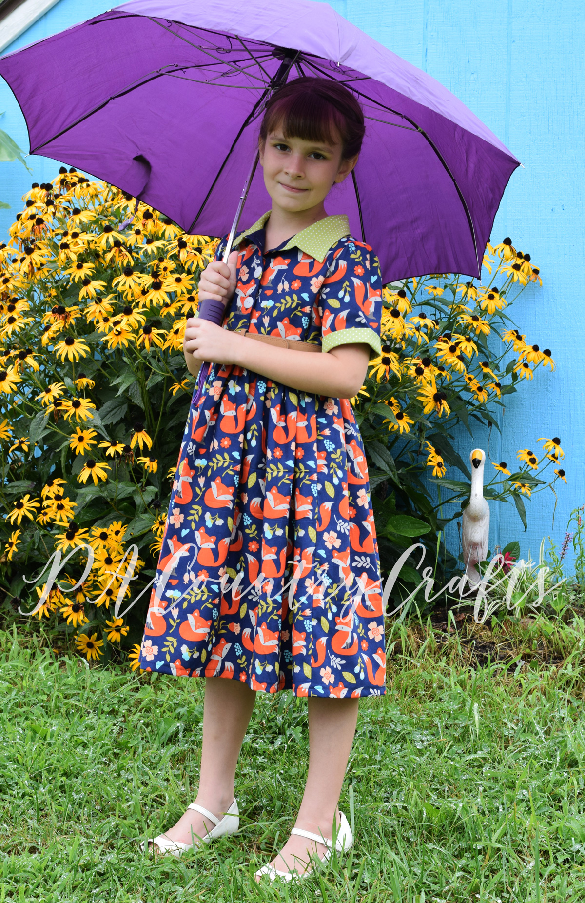 1950s style dress in cute, fox fabric!