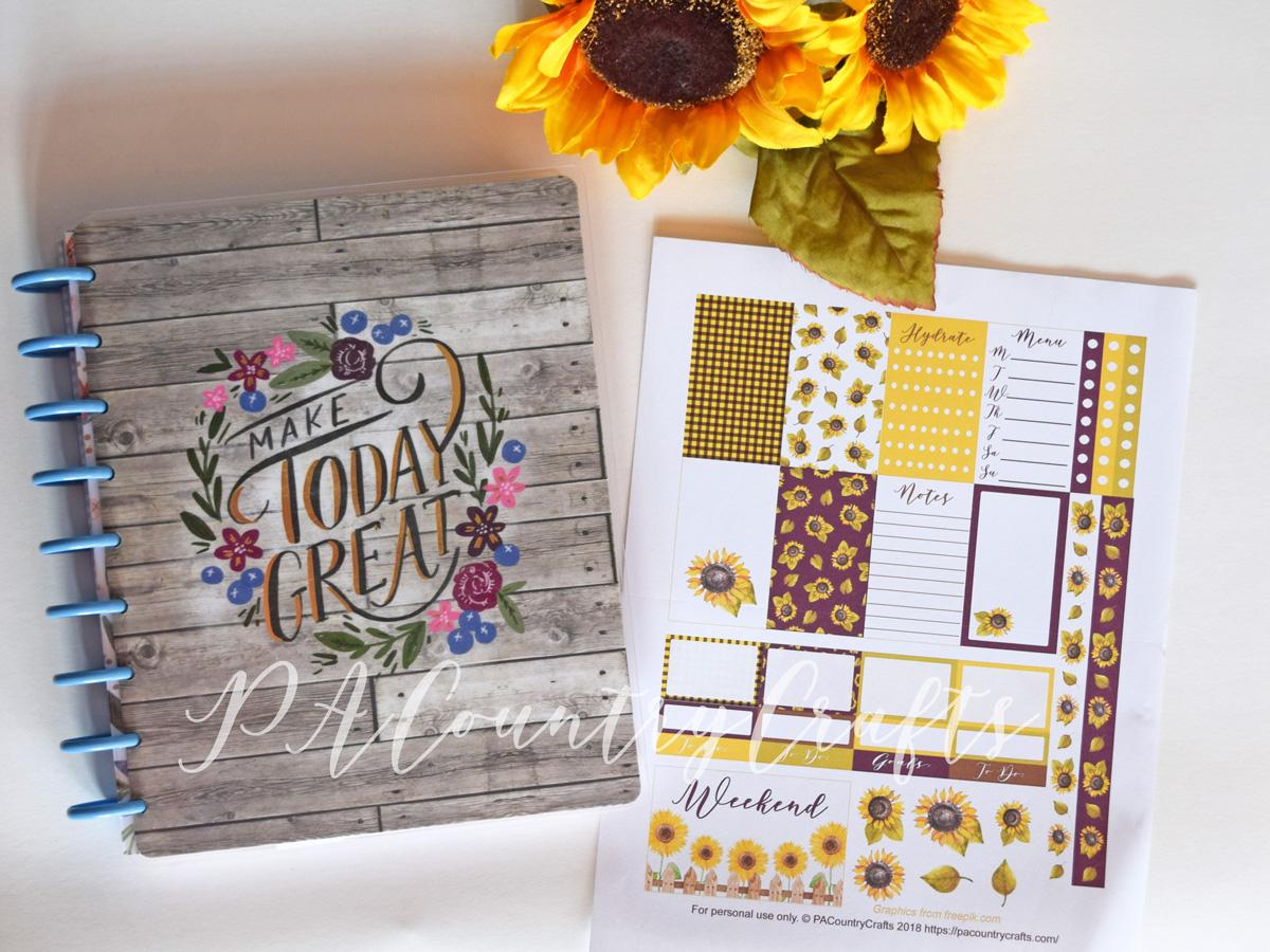 Purple sunflower printable planner stickers freebie