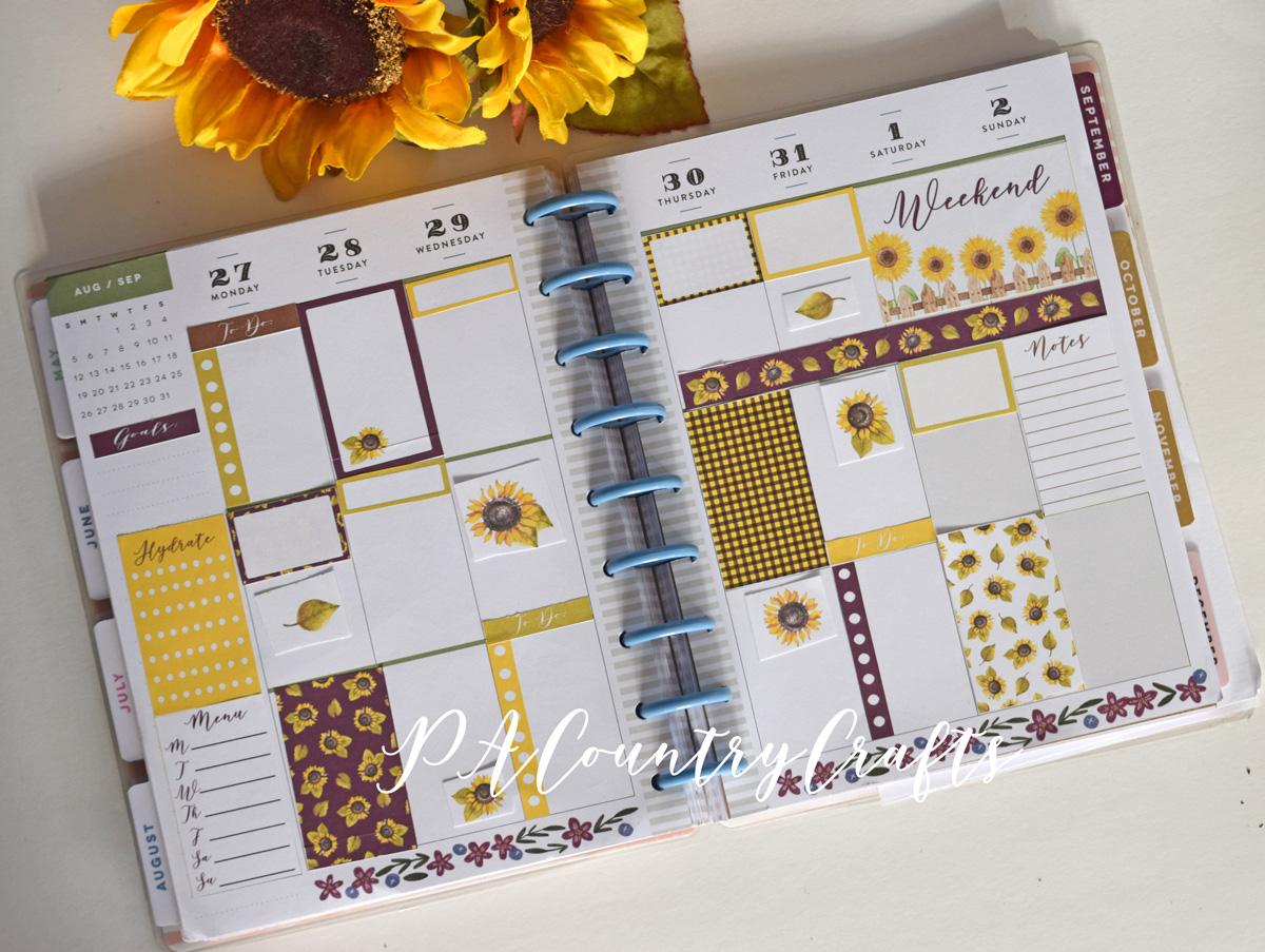 Happy Planner sunflower layout- free printable stickers