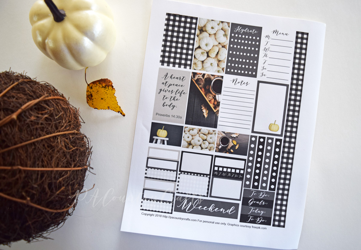 Black and white gingham fall planner stickers free printable!