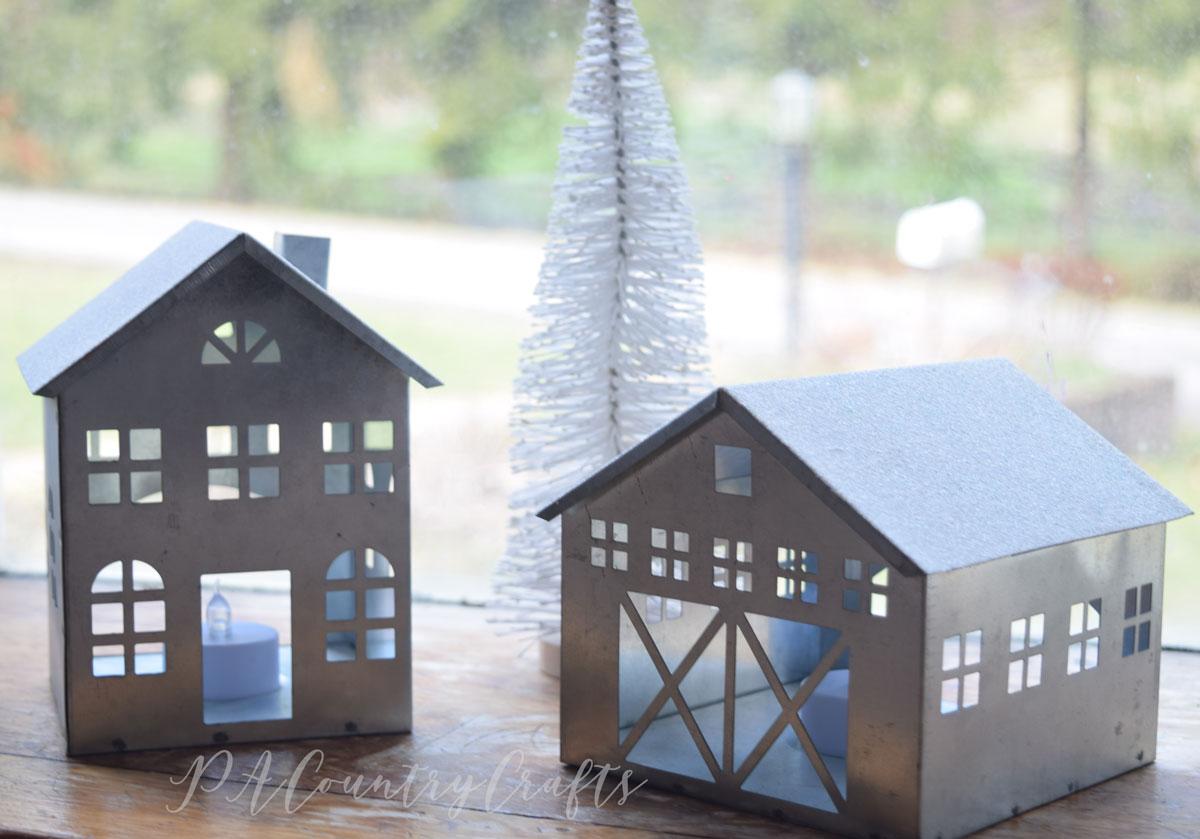 galvanized houses from Target dollar spot