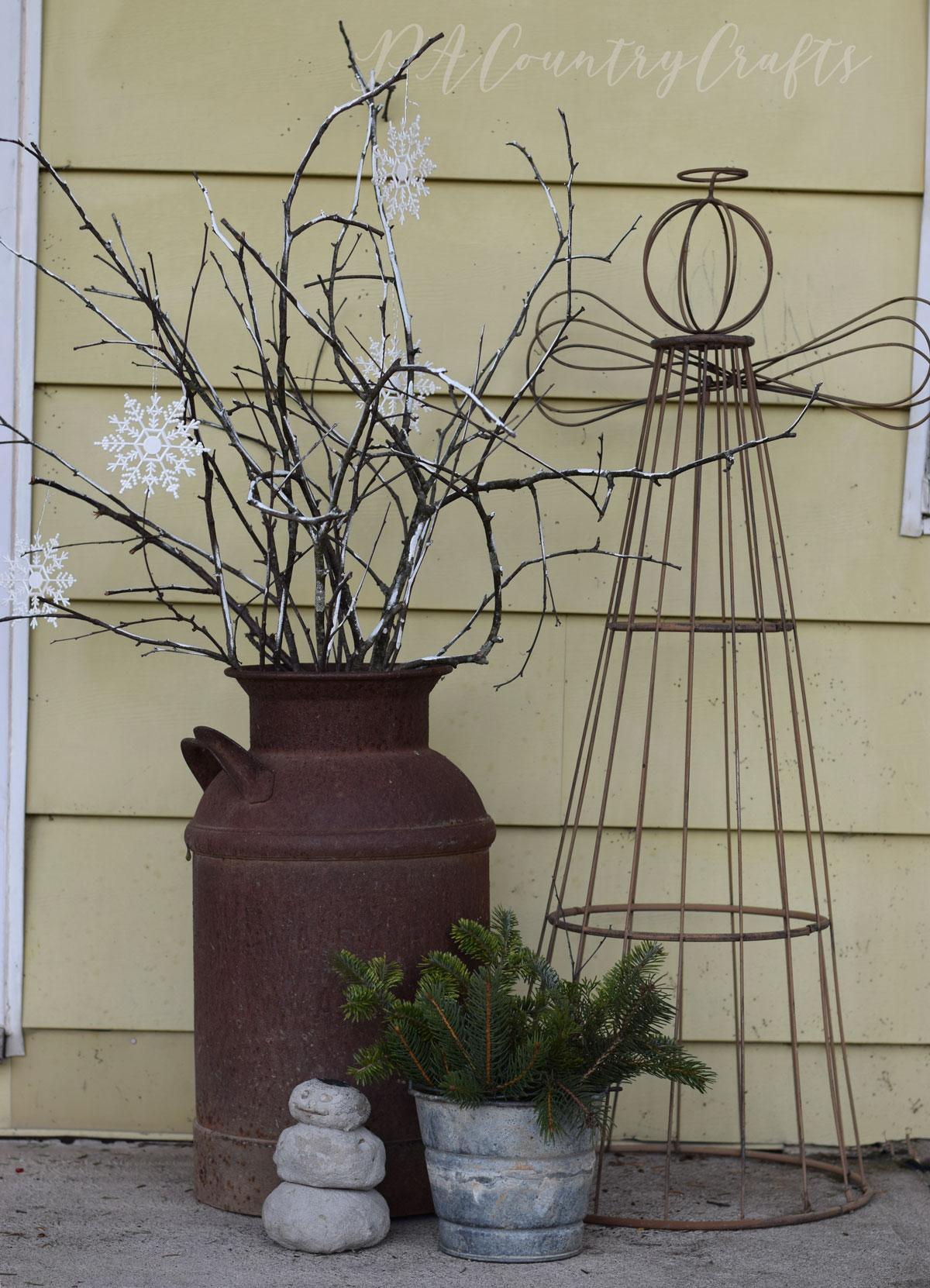 rustic winter porch decor
