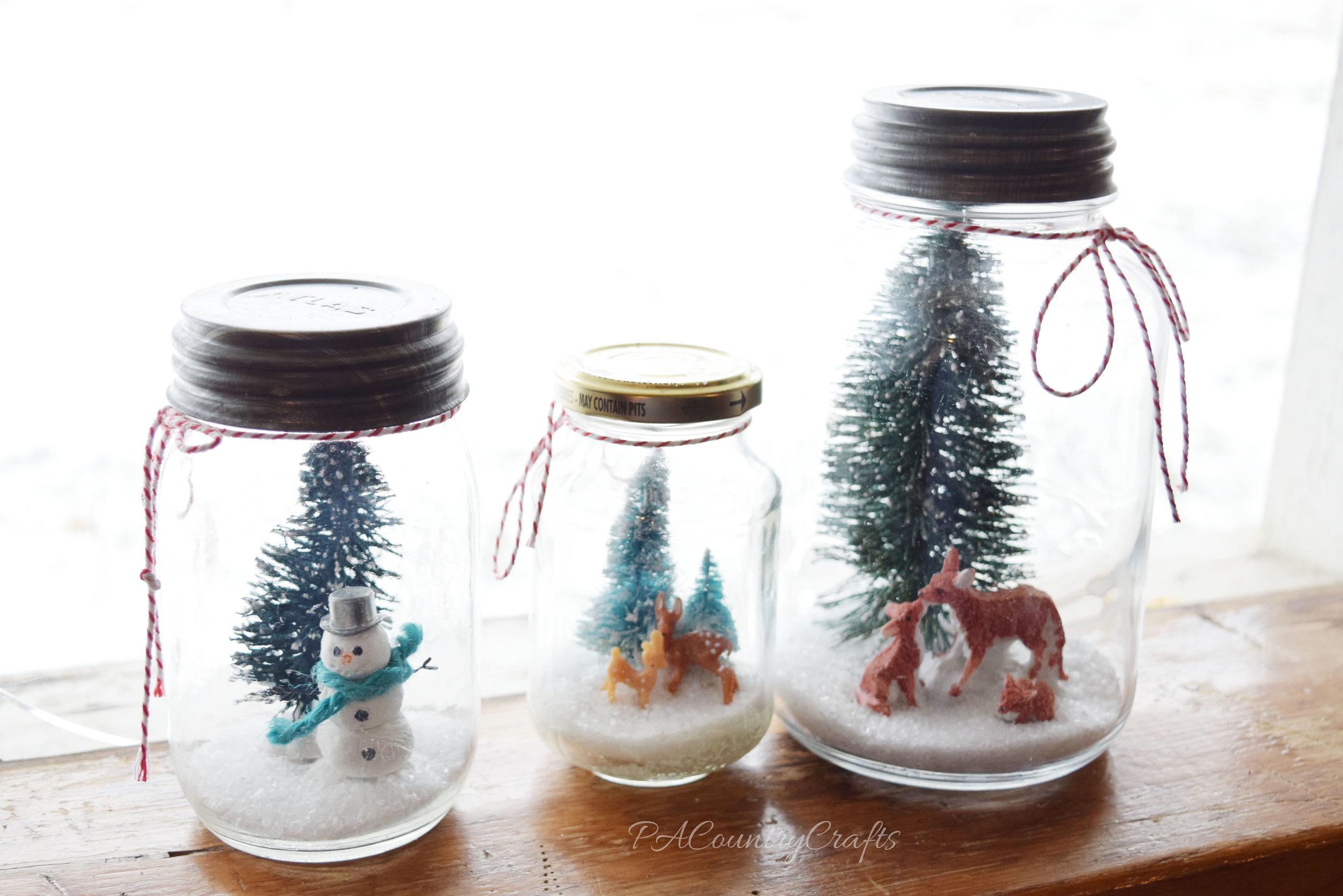 Easy Mason Jar Snow Scenes