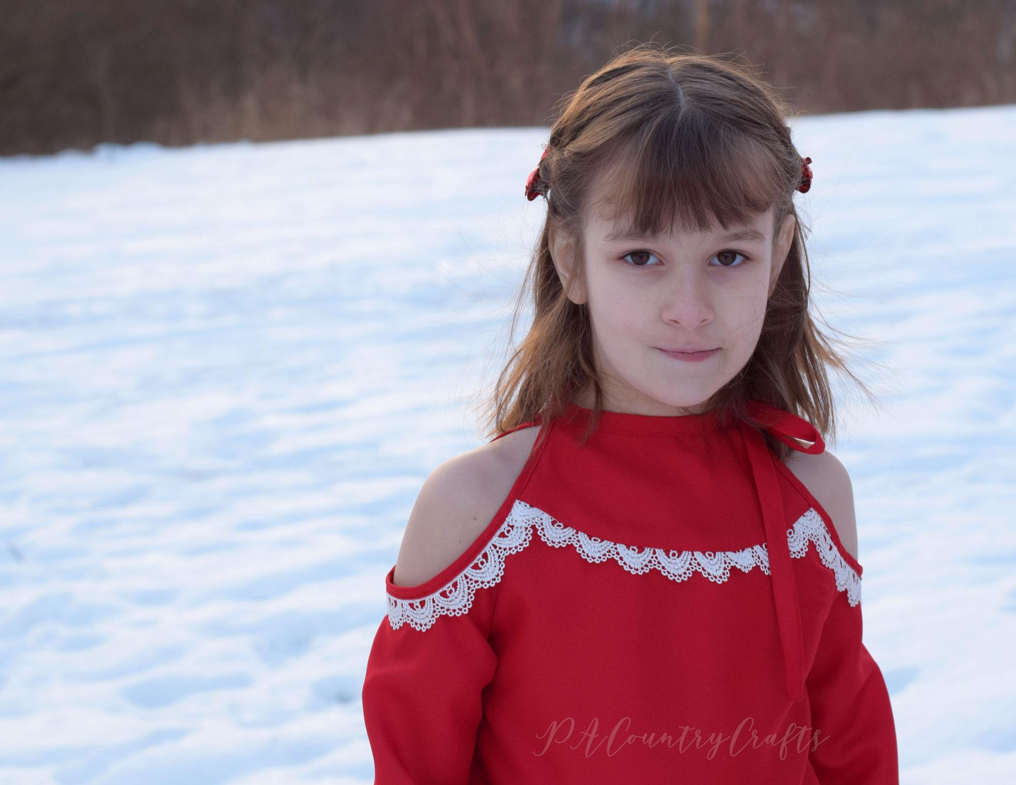 Girls cold shoulder top for winter in red crepe satin!