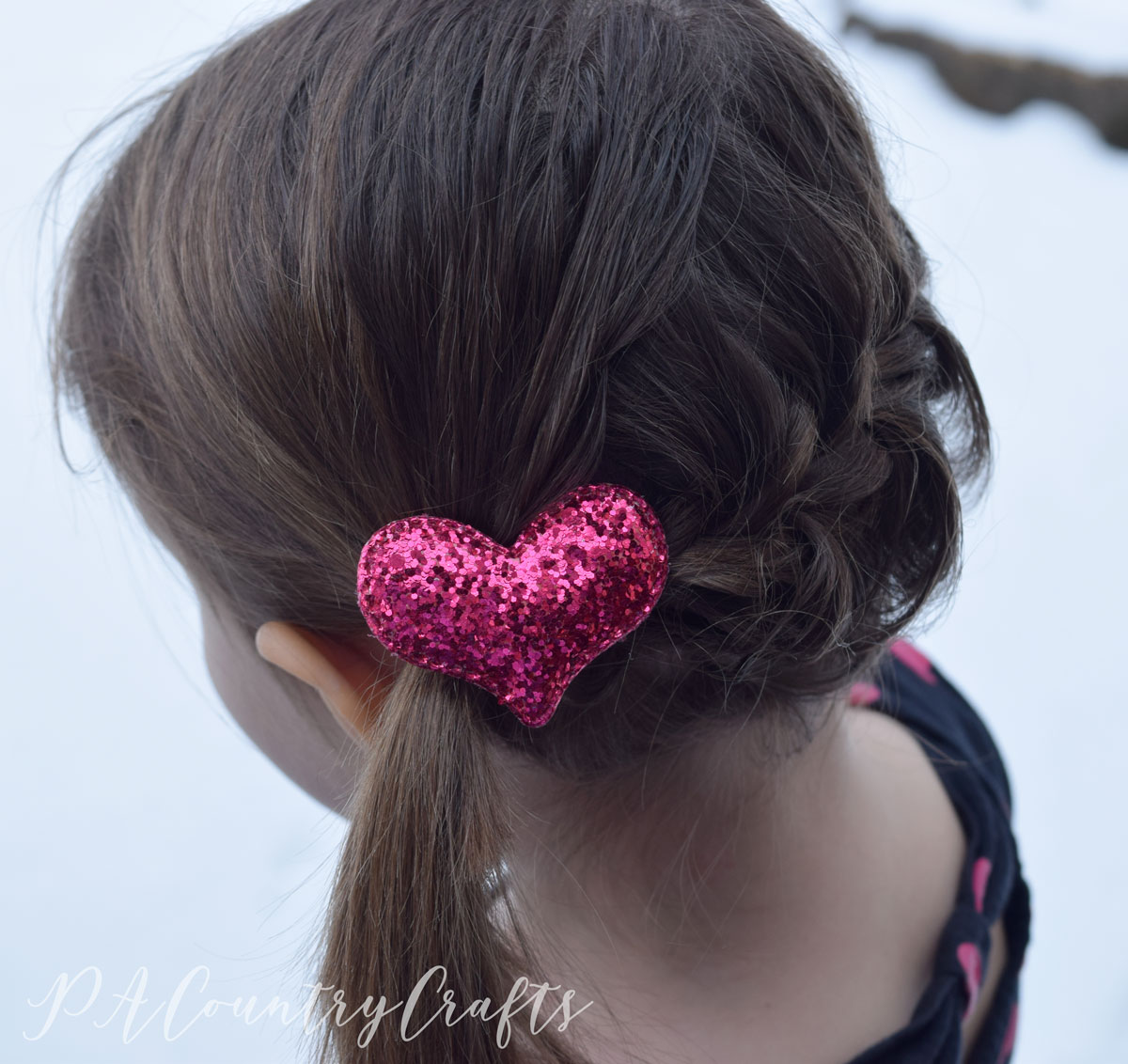 Cute hair clips made from Target Dollar Spot valentine hearts!