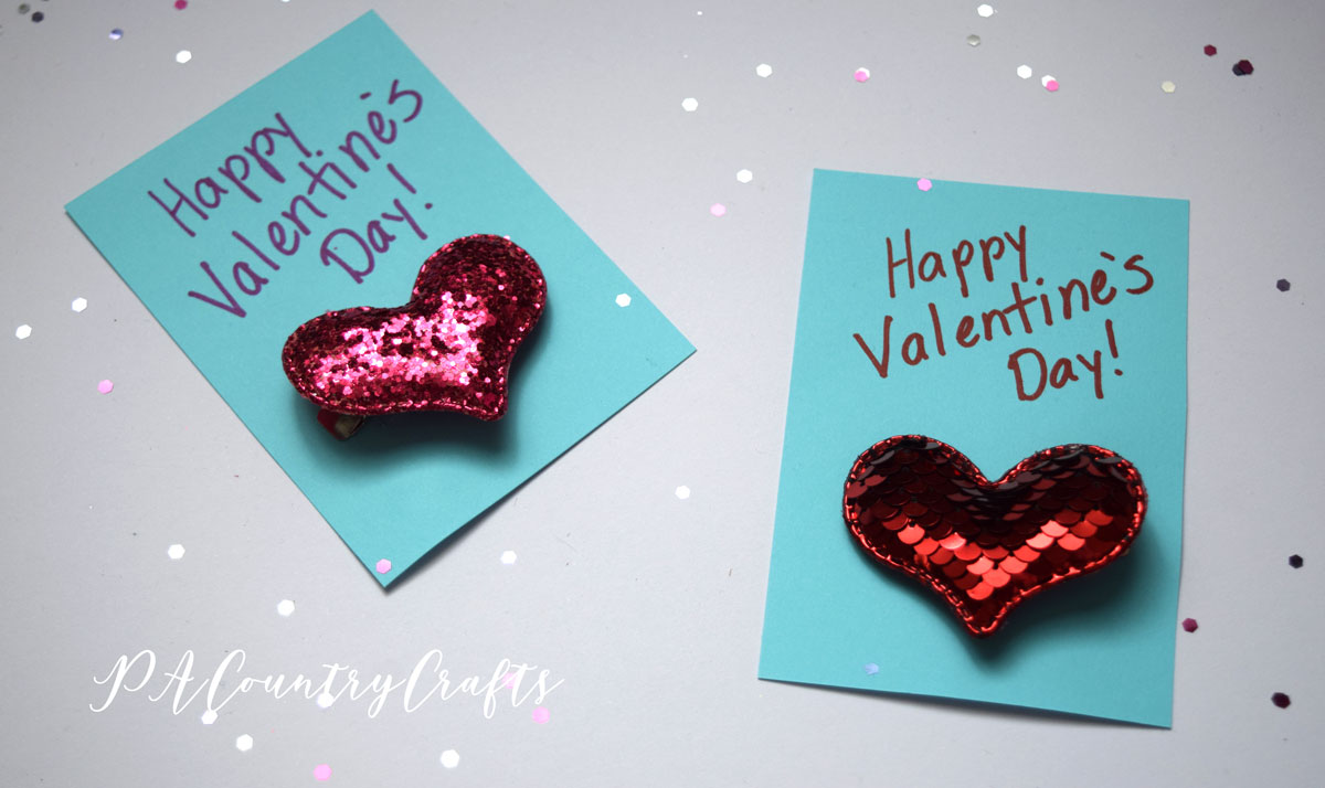 Such an easy valentine idea for girls- hair clips made from Target Dollar Spot hearts!