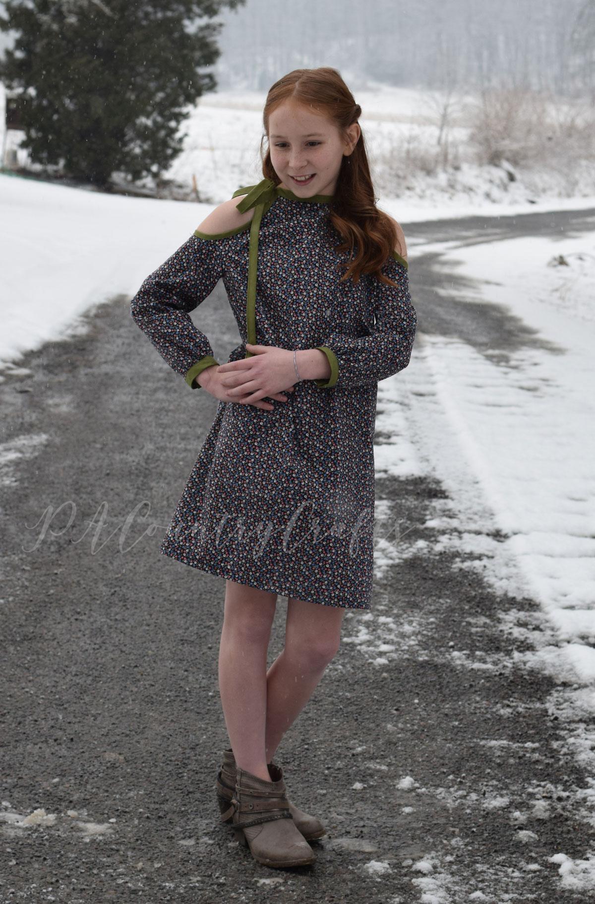 Girls cold shoulder dress with shoulder tie accent