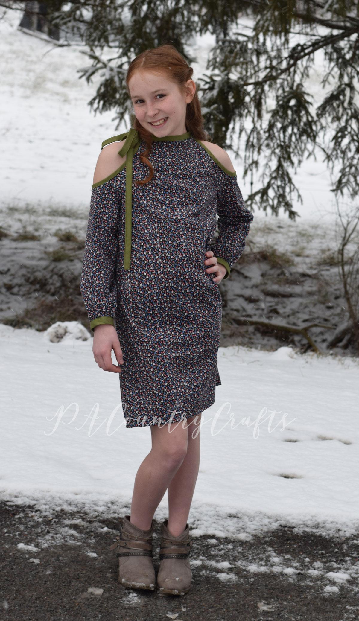 Long sleeved cold shoulder dress for girls