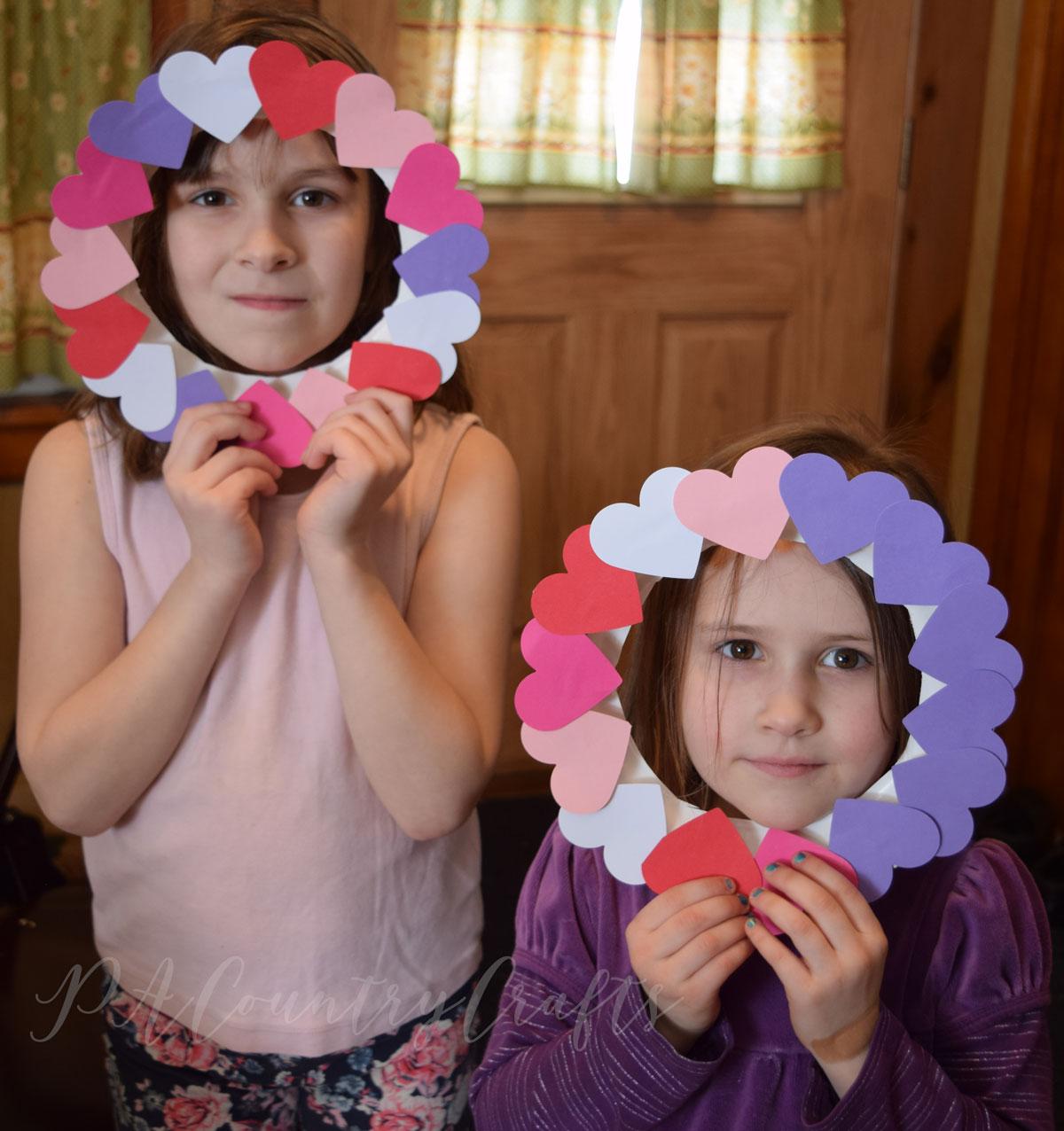 Paper plate heart wreath kids crafts