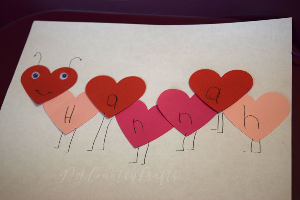 Valentines Day kids craft- caterpillar made of hearts