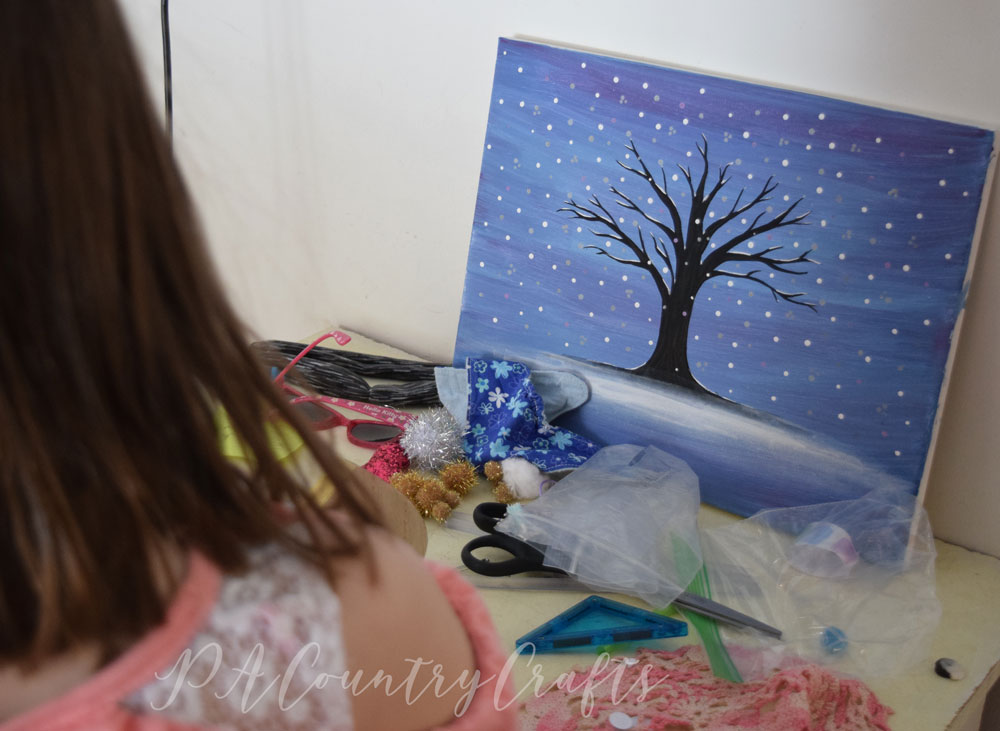 Snow painting and kids mess...