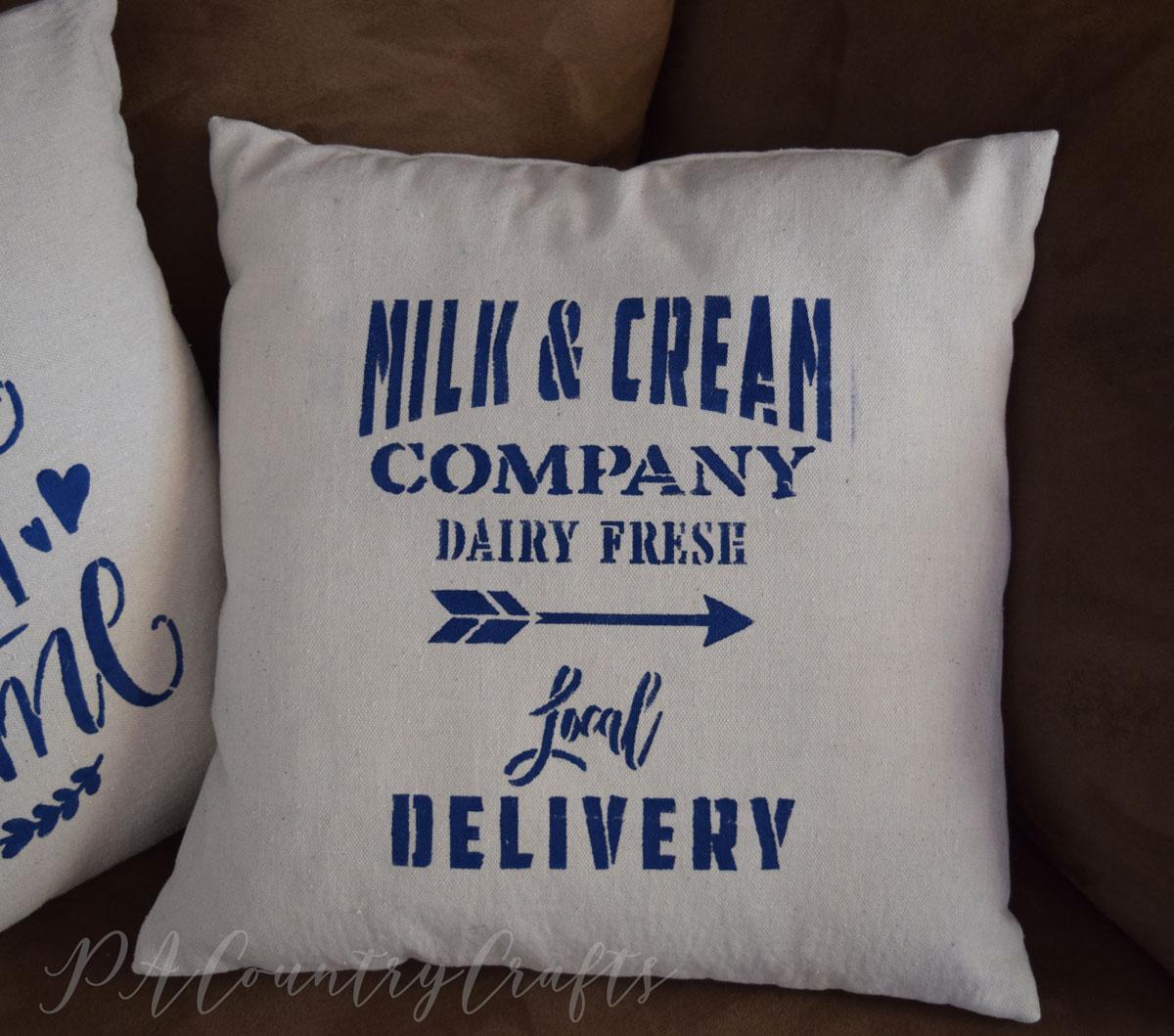 Farmhouse Stencil Pillow Cover Tutorial