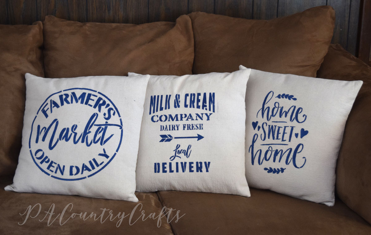 Drop Cloth Stencil Pillow Covers