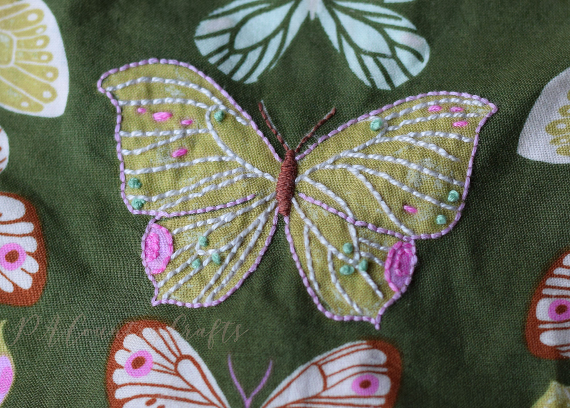 embroidered butterfly fabric