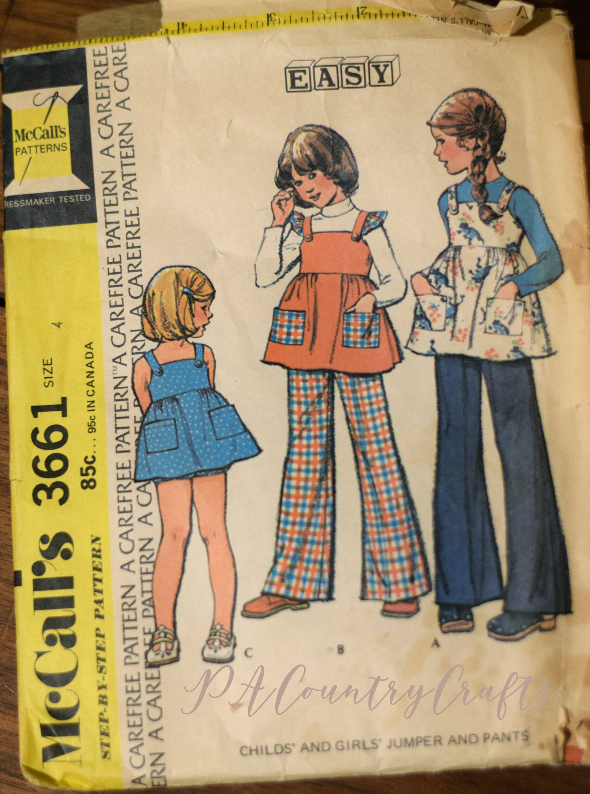 1973 McCall's 3661 girls jumper sewing pattern