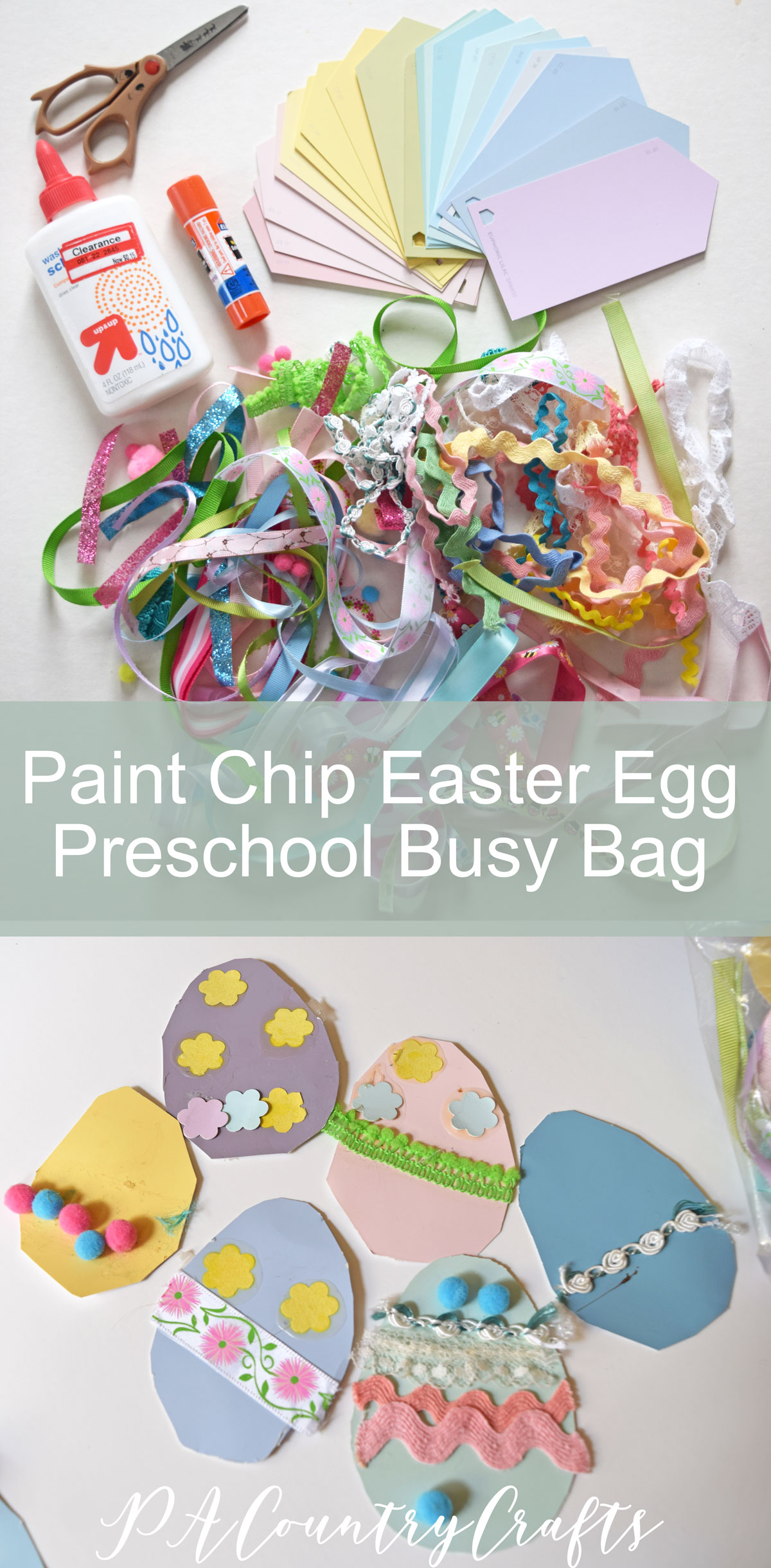 Paint Chip Easter Egg Preschool Busy Bag Craft