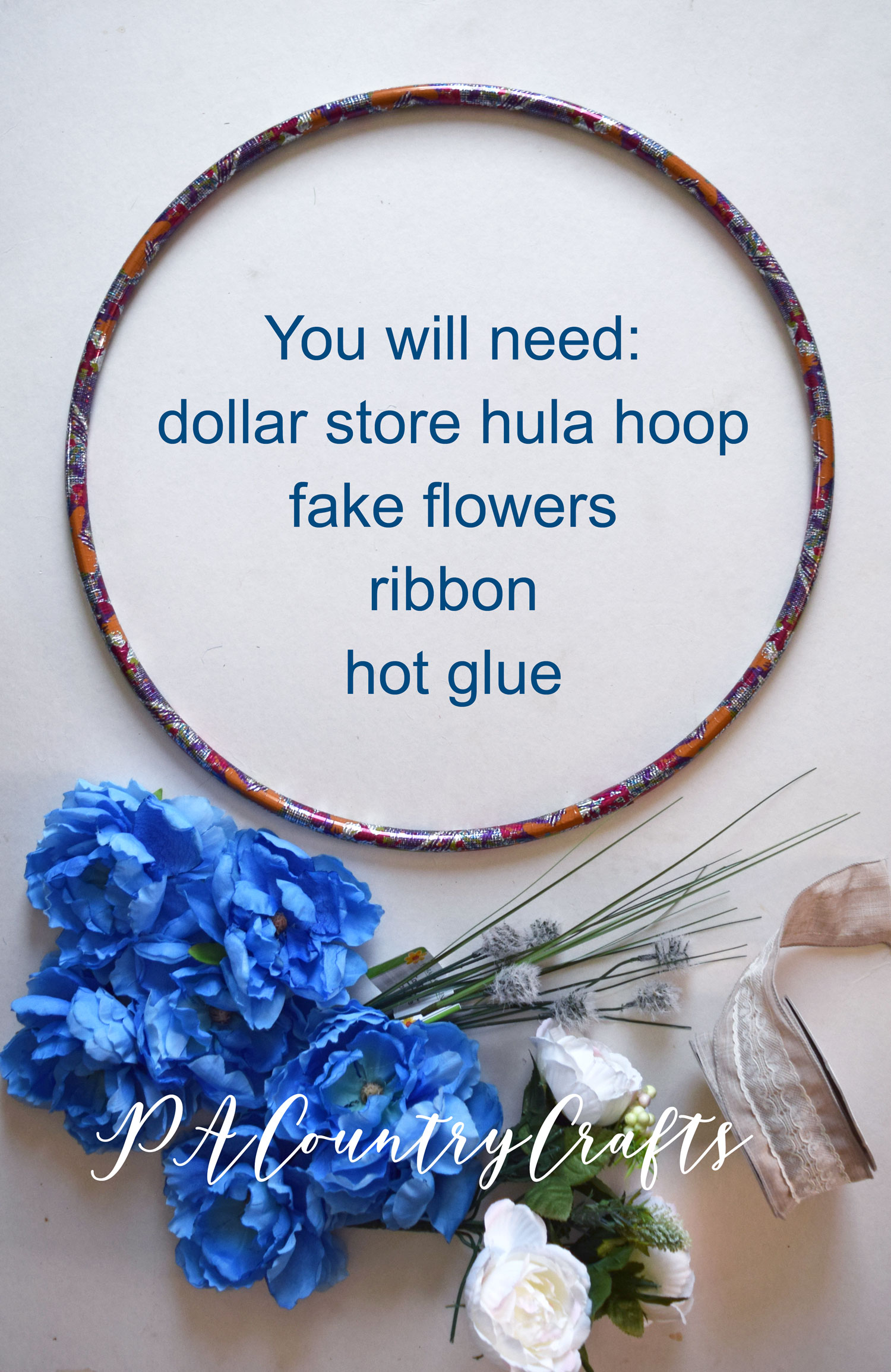 Dollar Store Hula Hoop Spring Wreath Tutorial
